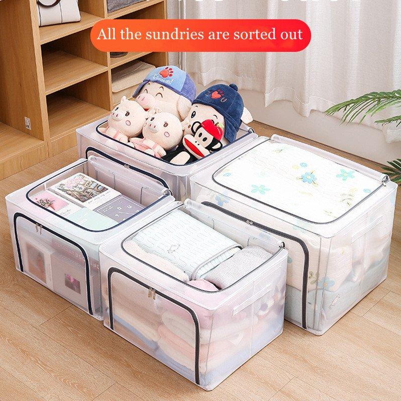 Transparent Folding Storage Box Foldable Clothes Storage Box Collapsible Storage Box